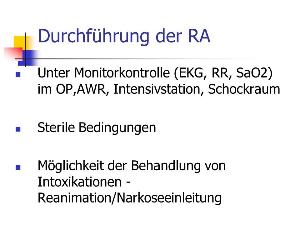 Durchführungder RA Unter Monitorkontrolle (EKG, RR, SaO2) im OP,AWR, Intensivstation, Schockraum Sterile Bedingungen Möglichkeit der Behandlung von In
