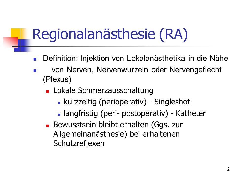 2 Regionalanästhesie (RA) Definition: Injektion von Lokalanästhetika in die Nähe von Nerven, Nervenwurzeln oder Nervengeflecht (Plexus) Lokale Schmerz