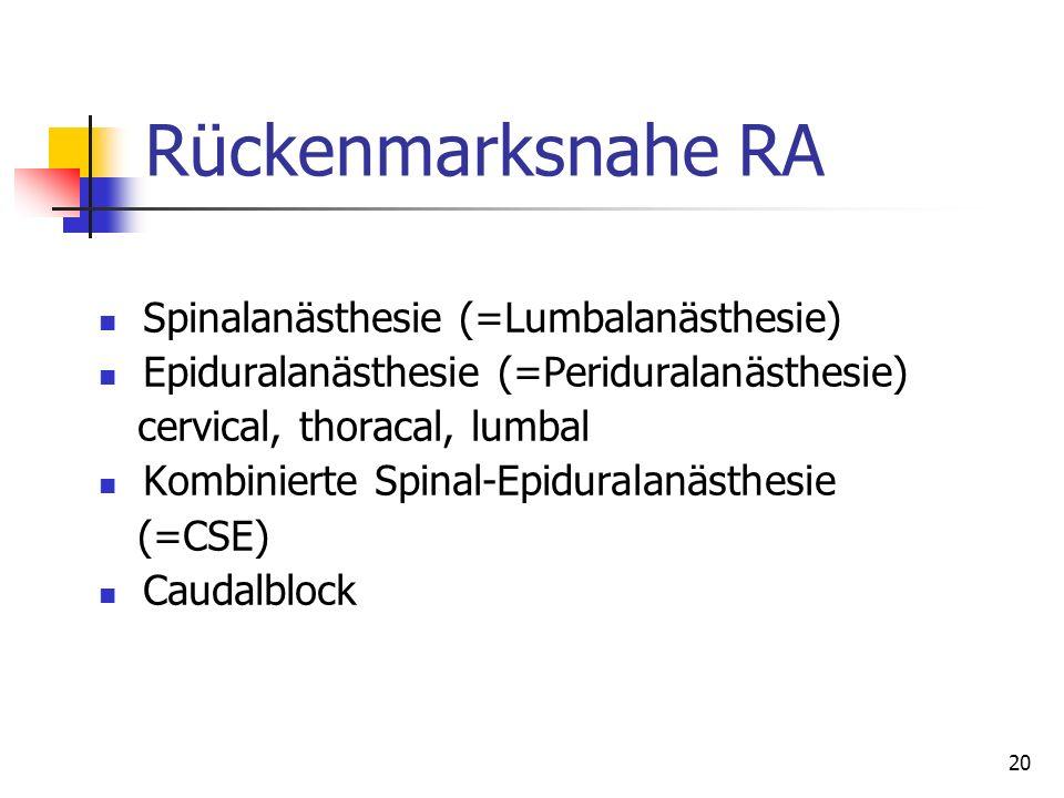 20 Rückenmarksnahe RA Spinalanästhesie (=Lumbalanästhesie) Epiduralanästhesie (=Periduralanästhesie) cervical, thoracal, lumbal Kombinierte Spinal-Epi
