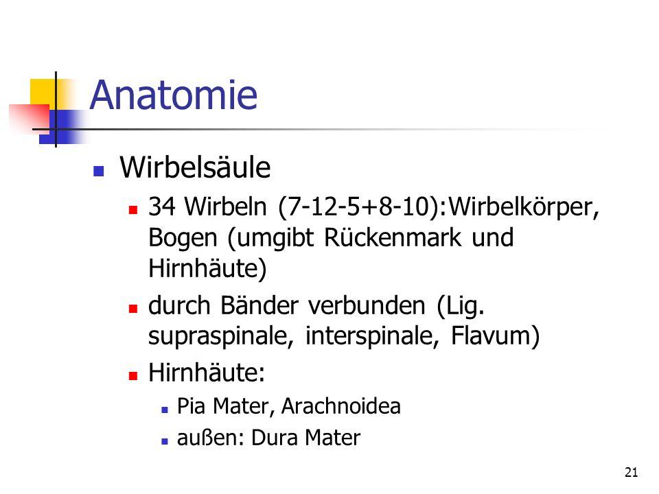 21 Anatomie Wirbelsäule 34 Wirbeln (7-12-5+8-10):Wirbelkörper, Bogen (umgibt Rückenmark und Hirnhäute) durch Bänder verbunden (Lig. supraspinale, inte