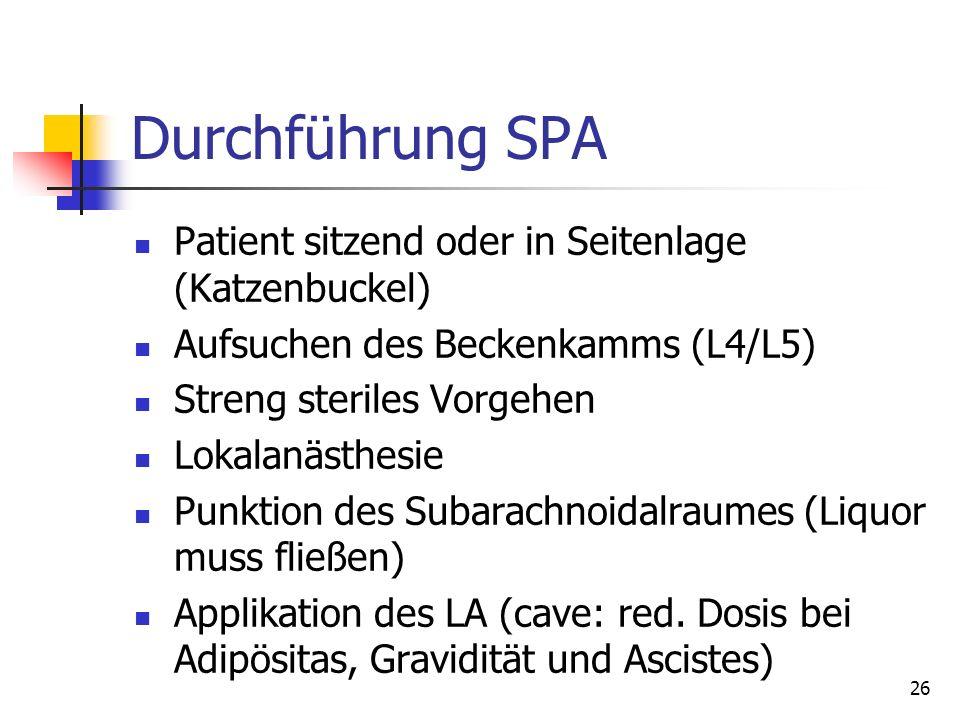 26 Durchführung SPA Patient sitzend oder in Seitenlage (Katzenbuckel) Aufsuchen des Beckenkamms (L4/L5) Streng steriles Vorgehen Lokalanästhesie Punkt