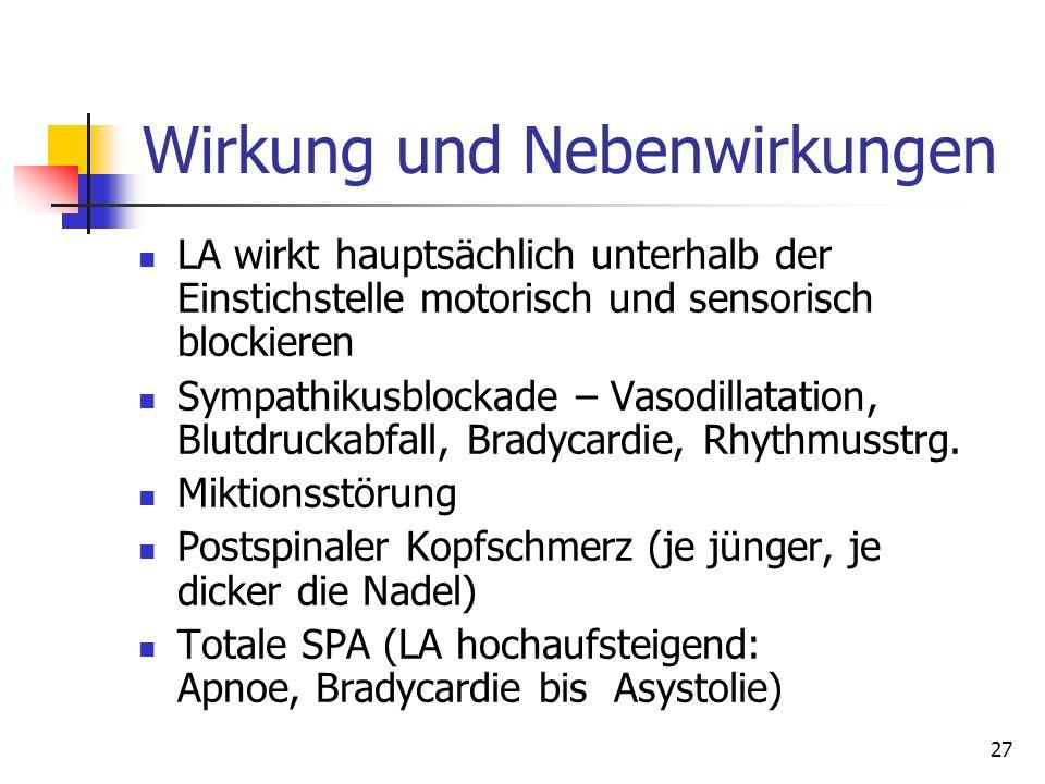 27 Wirkung und Nebenwirkungen LA wirkt hauptsächlich unterhalb der Einstichstelle motorisch und sensorisch blockieren Sympathikusblockade – Vasodillat