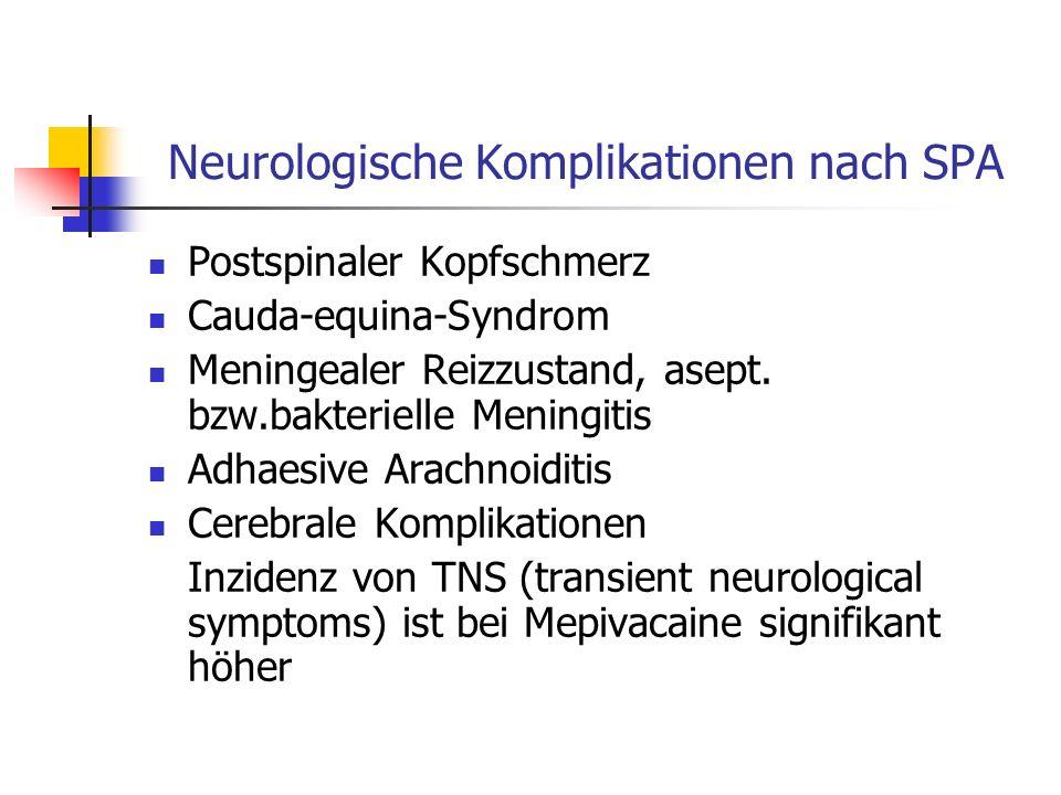 Neurologische Komplikationen nach SPA Postspinaler Kopfschmerz Cauda-equina-Syndrom Meningealer Reizzustand, asept. bzw.bakterielle Meningitis Adhaesi