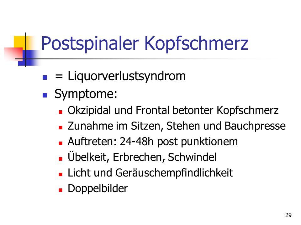 29 Postspinaler Kopfschmerz = Liquorverlustsyndrom Symptome: Okzipidal und Frontal betonter Kopfschmerz Zunahme im Sitzen, Stehen und Bauchpresse Auft