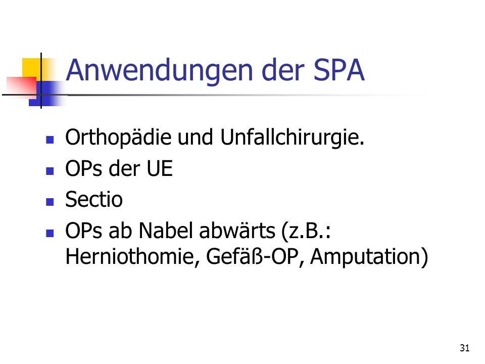 31 Anwendungen der SPA Orthopädie und Unfallchirurgie. OPs der UE Sectio OPs ab Nabel abwärts (z.B.: Herniothomie, Gefäß-OP, Amputation)