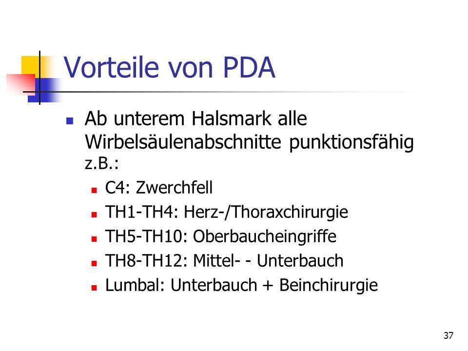 37 Vorteile von PDA Ab unterem Halsmark alle Wirbelsäulenabschnitte punktionsfähig z.B.: C4: Zwerchfell TH1-TH4: Herz-/Thoraxchirurgie TH5-TH10: Oberb