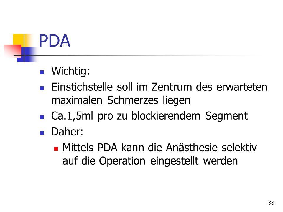38 PDA Wichtig: Einstichstelle soll im Zentrum des erwarteten maximalen Schmerzes liegen Ca.1,5ml pro zu blockierendem Segment Daher: Mittels PDA kann