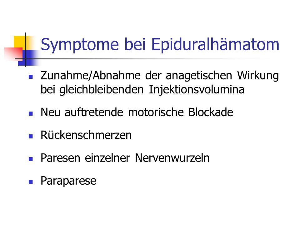 Symptome bei Epiduralhämatom Zunahme/Abnahme der anagetischen Wirkung bei gleichbleibenden Injektionsvolumina Neu auftretende motorische Blockade Rück