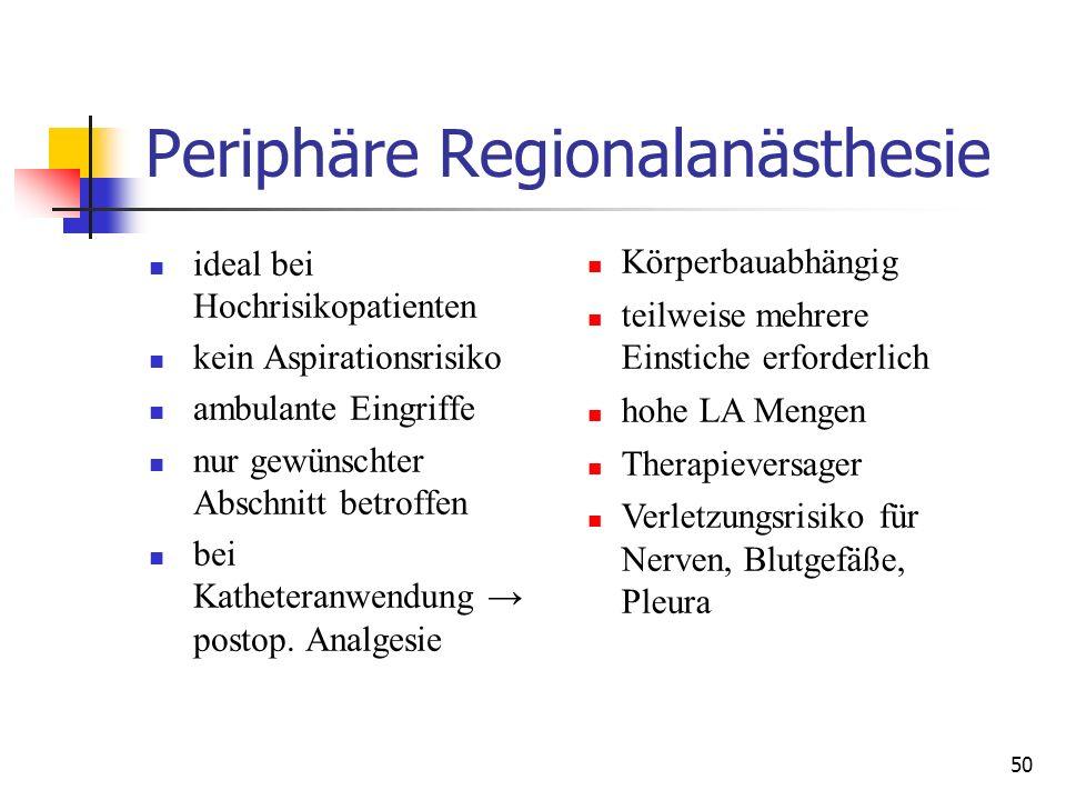 50 Periphäre Regionalanästhesie ideal bei Hochrisikopatienten kein Aspirationsrisiko ambulante Eingriffe nur gewünschter Abschnitt betroffen bei Kathe