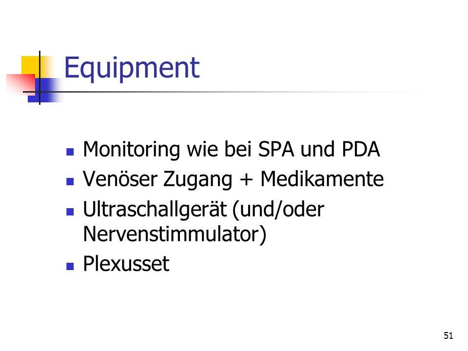 51 Equipment Monitoring wie bei SPA und PDA Venöser Zugang + Medikamente Ultraschallgerät (und/oder Nervenstimmulator) Plexusset