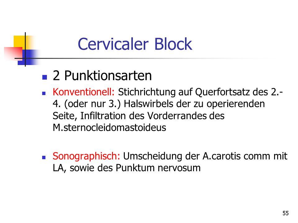 Cervicaler Block 2 Punktionsarten Konventionell: Stichrichtung auf Querfortsatz des 2.- 4. (oder nur 3.) Halswirbels der zu operierenden Seite, Infilt