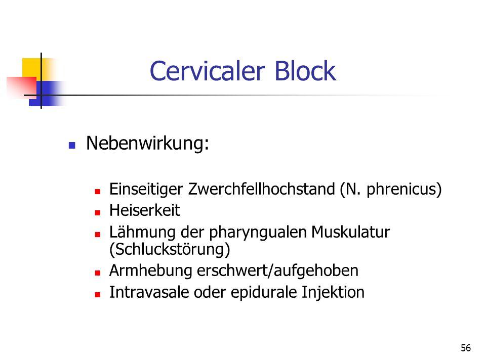 Cervicaler Block Nebenwirkung: Einseitiger Zwerchfellhochstand (N. phrenicus) Heiserkeit Lähmung der pharyngualen Muskulatur (Schluckstörung) Armhebun
