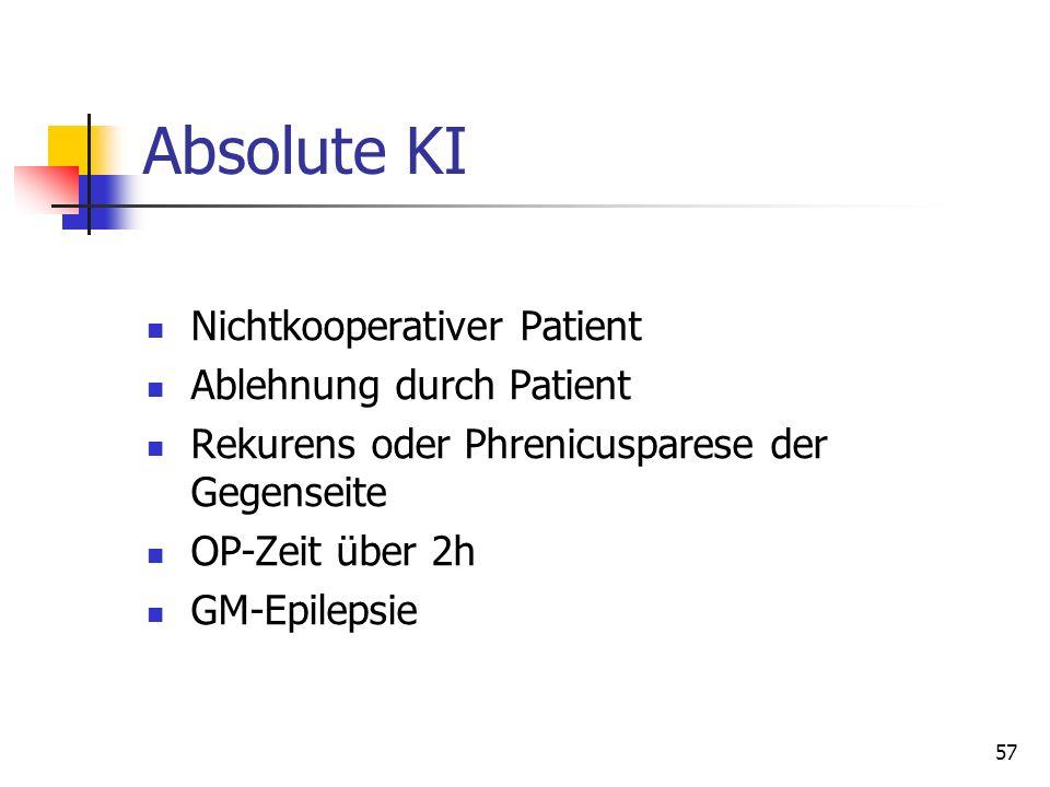 57 Absolute KI Nichtkooperativer Patient Ablehnung durch Patient Rekurens oder Phrenicusparese der Gegenseite OP-Zeit über 2h GM-Epilepsie