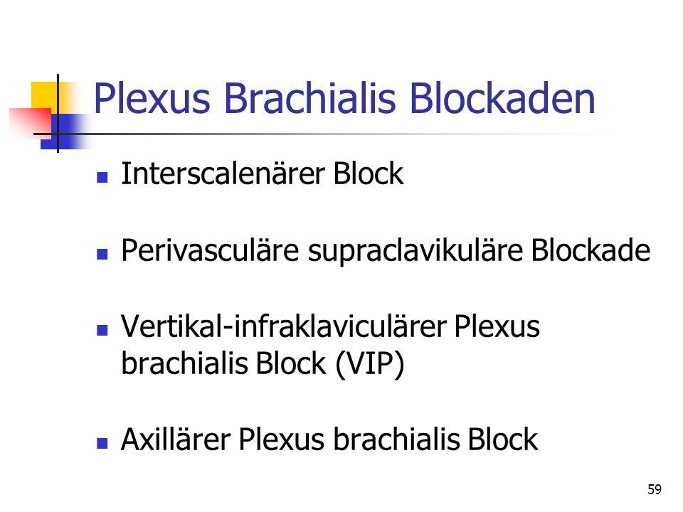 59 Plexus Brachialis Blockaden Interscalenärer Block Perivasculäre supraclavikuläre Blockade Vertikal-infraklaviculärer Plexus brachialis Block (VIP)