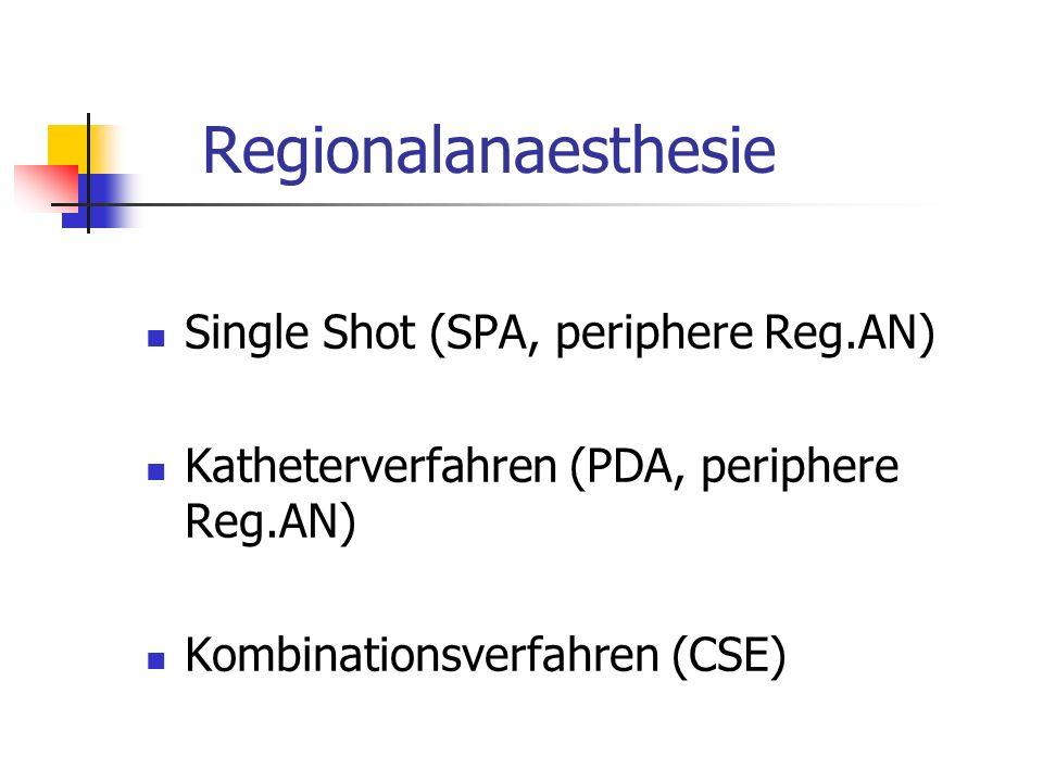 Regionalanaesthesie Single Shot (SPA, periphere Reg.AN) Katheterverfahren (PDA, periphere Reg.AN) Kombinationsverfahren (CSE)