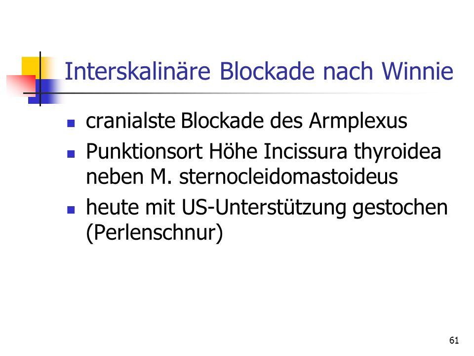 61 Interskalinäre Blockade nach Winnie cranialste Blockade des Armplexus Punktionsort Höhe Incissura thyroidea neben M. sternocleidomastoideus heute m