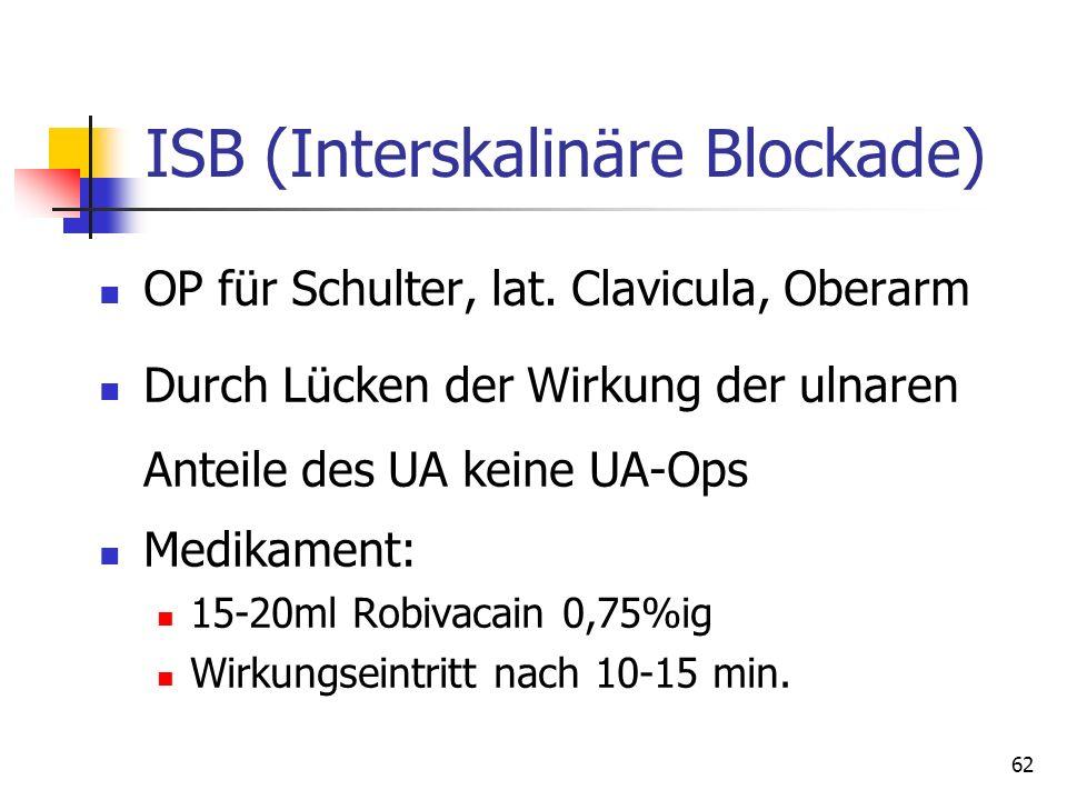 62 ISB (Interskalinäre Blockade) OP für Schulter, lat. Clavicula, Oberarm Durch Lücken der Wirkung der ulnaren Anteile des UA keine UA-Ops Medikament: