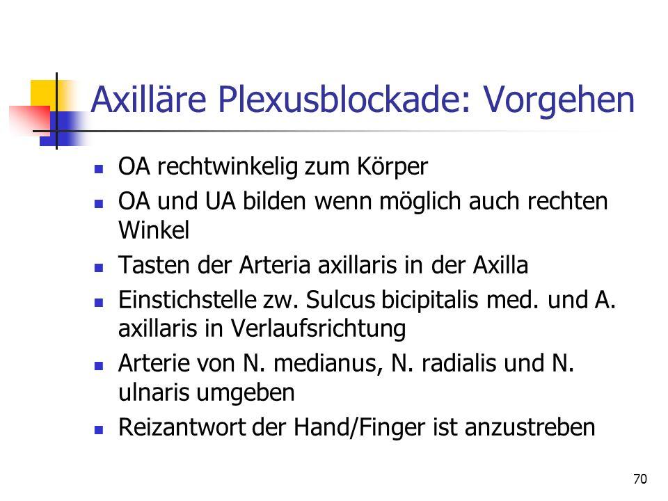 70 Axilläre Plexusblockade: Vorgehen OA rechtwinkelig zum Körper OA und UA bilden wenn möglich auch rechten Winkel Tasten der Arteria axillaris in der