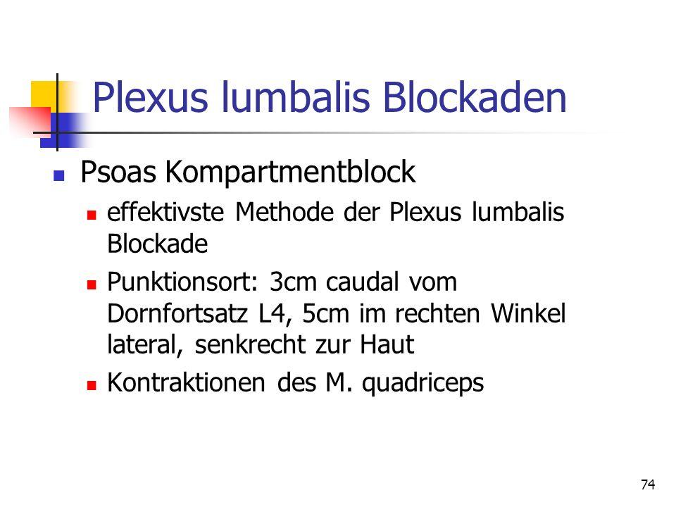74 Plexus lumbalis Blockaden Psoas Kompartmentblock effektivste Methode der Plexus lumbalis Blockade Punktionsort: 3cm caudal vom Dornfortsatz L4, 5cm