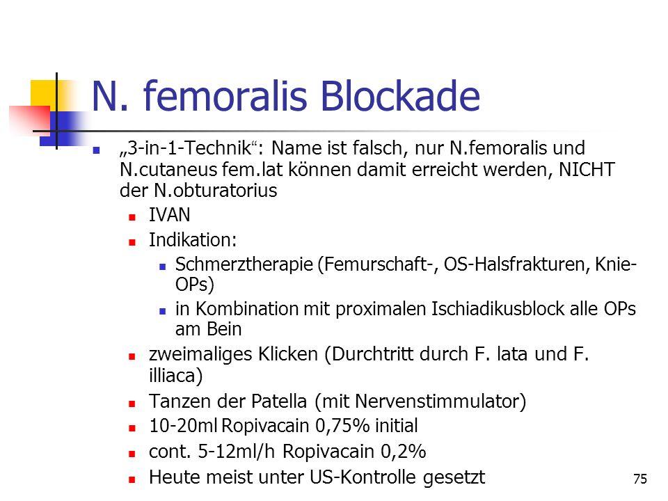 """75 N. femoralis Blockade """"3-in-1-Technik """" : Name ist falsch, nur N.femoralis und N.cutaneus fem.lat können damit erreicht werden, NICHT der N.obturat"""