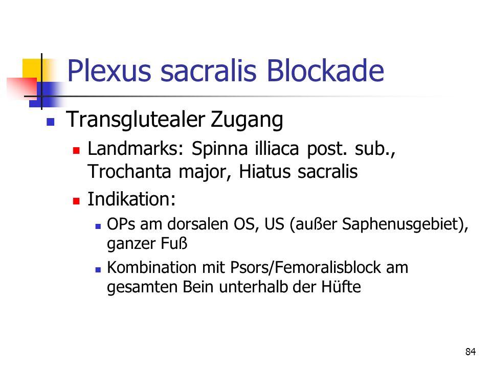 84 Plexus sacralis Blockade Transglutealer Zugang Landmarks: Spinna illiaca post. sub., Trochanta major, Hiatus sacralis Indikation: OPs am dorsalen O