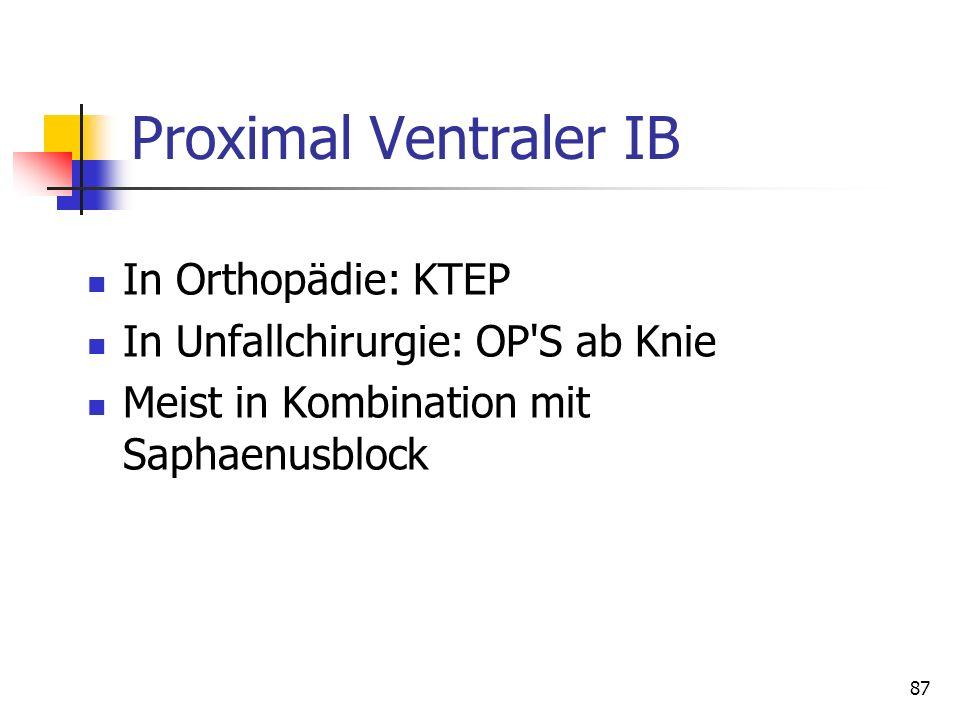 Proximal Ventraler IB In Orthopädie: KTEP In Unfallchirurgie: OP'S ab Knie Meist in Kombination mit Saphaenusblock 87