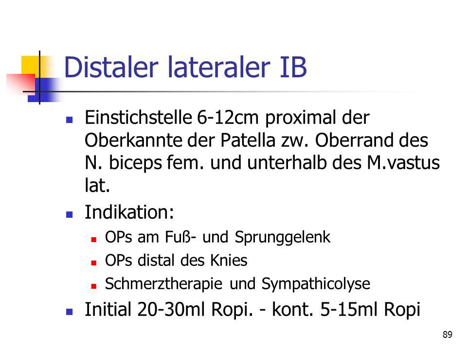 89 Distaler lateraler IB Einstichstelle 6-12cm proximal der Oberkannte der Patella zw. Oberrand des N. biceps fem. und unterhalb des M.vastus lat. Ind