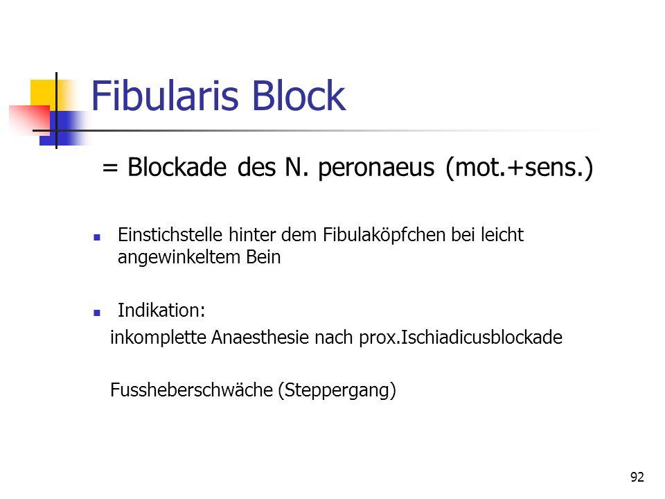 92 Fibularis Block = Blockade des N. peronaeus (mot.+sens.) Einstichstelle hinter dem Fibulaköpfchen bei leicht angewinkeltem Bein Indikation: inkompl