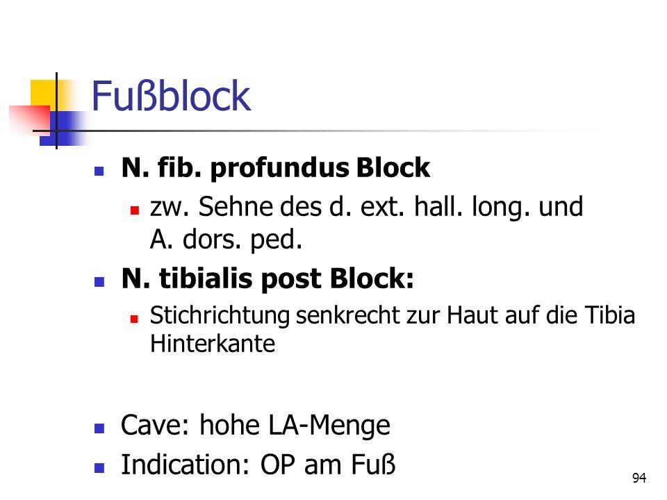 94 Fußblock N. fib. profundus Block zw. Sehne des d. ext. hall. long. und A. dors. ped. N. tibialis post Block: Stichrichtung senkrecht zur Haut auf d