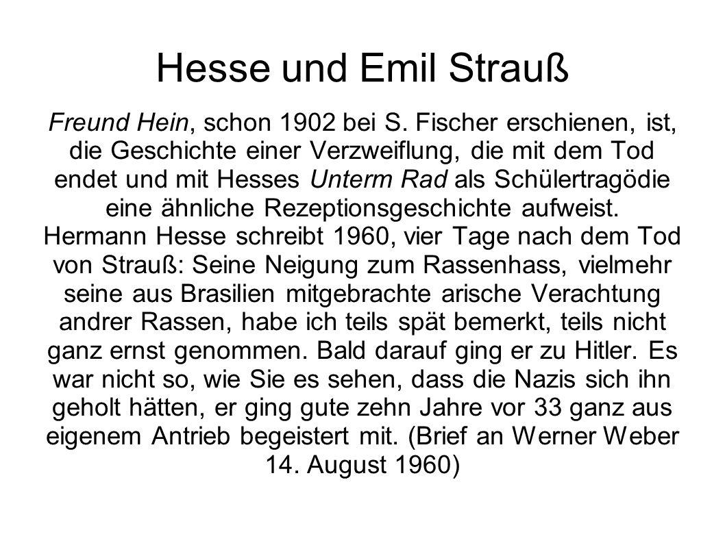 Hesse und Emil Strauß Freund Hein, schon 1902 bei S. Fischer erschienen, ist, die Geschichte einer Verzweiflung, die mit dem Tod endet und mit Hesses