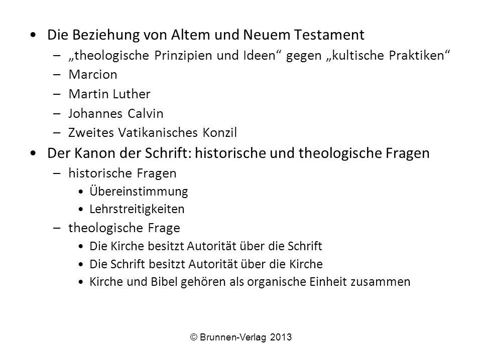 """Die Beziehung von Altem und Neuem Testament –""""theologische Prinzipien und Ideen"""" gegen """"kultische Praktiken"""" –Marcion –Martin Luther –Johannes Calvin"""
