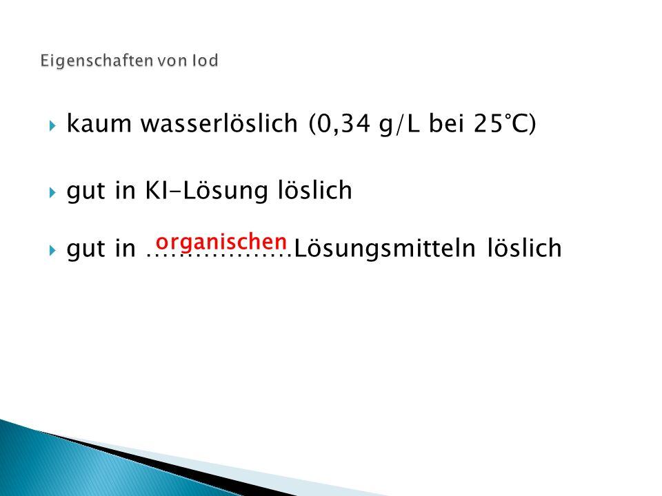  kaum wasserlöslich (0,34 g/L bei 25°C)  gut in KI-Lösung löslich  gut in ………………Lösungsmitteln löslich organischen