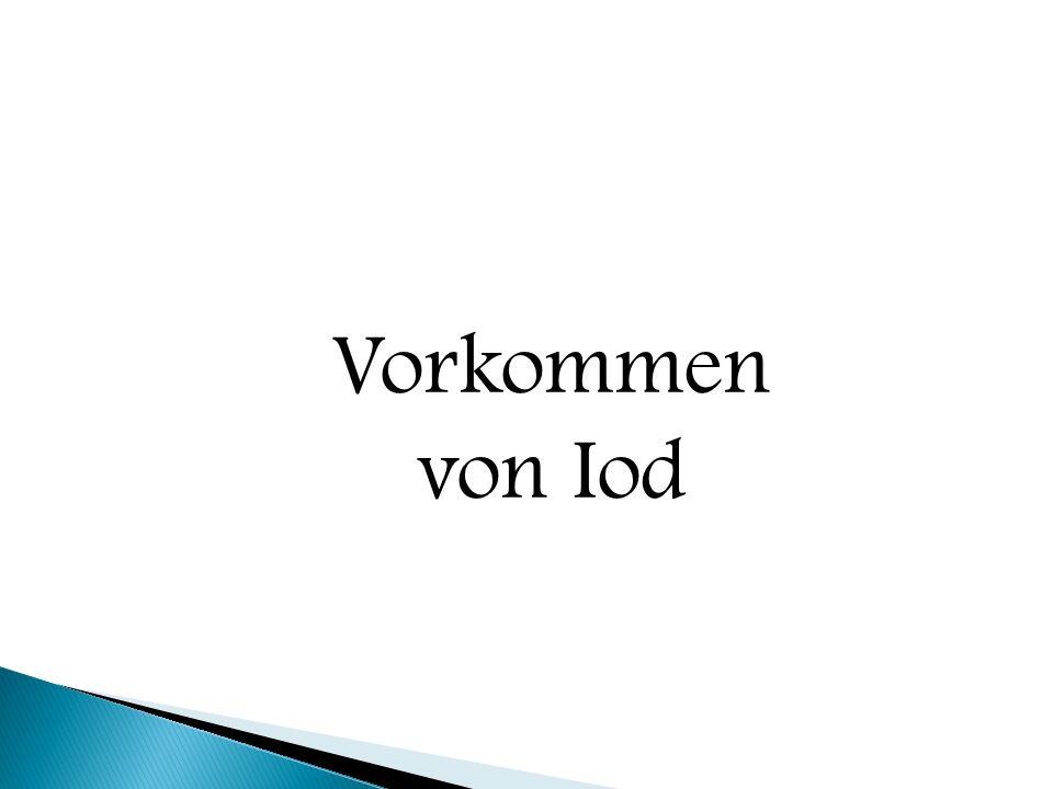  Nachweis von Iod: ◦ mit Stärke gibt es die blau-braune Anlagerungsverbindung = ………………… Iodstärke Iodmolekül Stärkemolekül  Iodstärke
