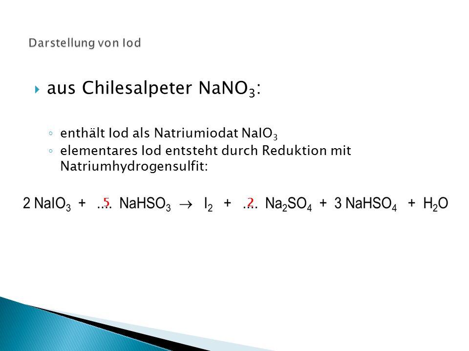  aus Meeresalgen (Seetang) : ◦ Seetang wird verascht und mit Wasser ausgelaugt ◦ mit Chlor fällt aus iodidhaltiger Lösung Iod aus 2 KI + Cl 2  2 KCl + I 2