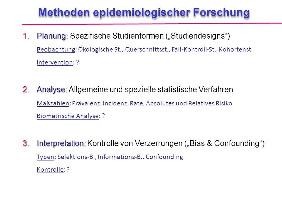 """Methoden epidemiologischer Forschung 1.Planung: 1.Planung: Spezifische Studienformen (""""Studiendesigns"""") Beobachtung: Ökologische St., Querschnittsst.,"""