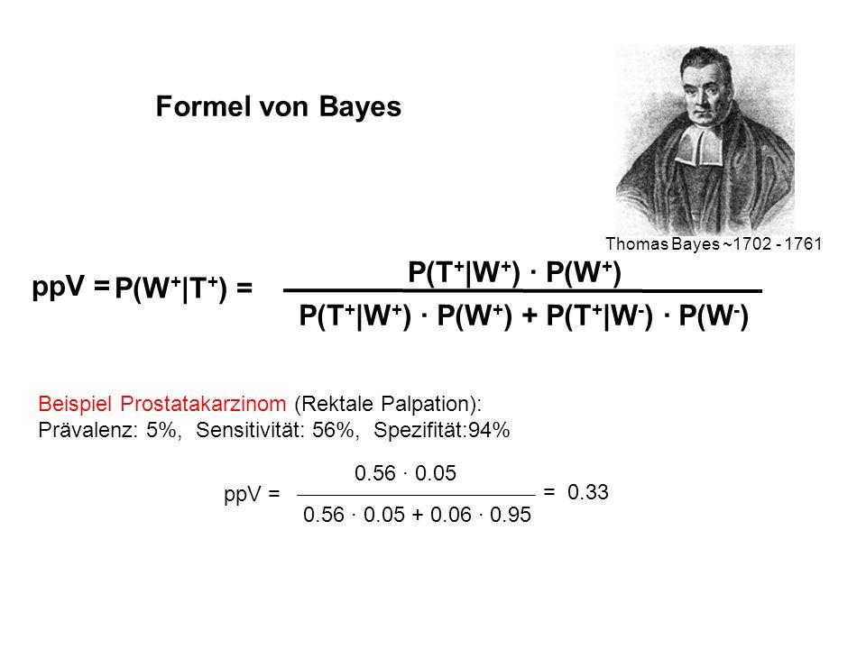 Formel von Bayes Thomas Bayes ~1702 - 1761 P(W + |T + ) = P(T + |W + ) · P(W + ) P(T + |W + ) · P(W + ) + P(T + |W - ) · P(W - ) Beispiel Prostatakarz