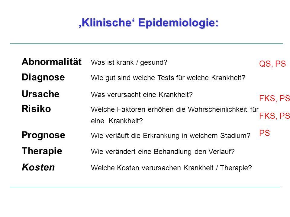 'Klinische' Epidemiologie: Abnormalität Was ist krank / gesund? Diagnose Wie gut sind welche Tests für welche Krankheit? Ursache Was verursacht eine K