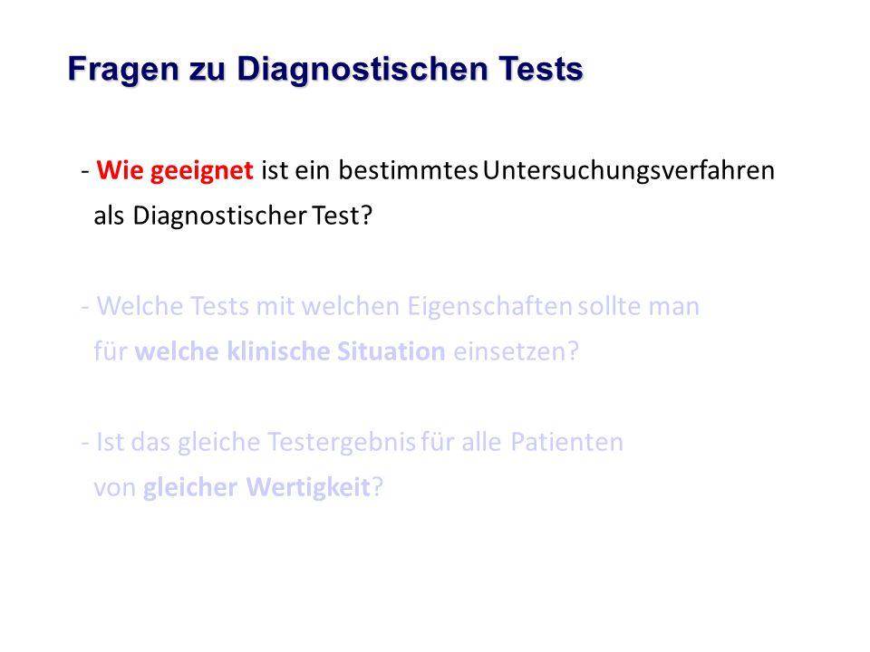 - Wie geeignet ist ein bestimmtes Untersuchungsverfahren als Diagnostischer Test? - Welche Tests mit welchen Eigenschaften sollte man für welche klini