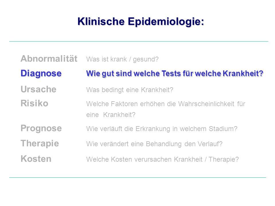 Klinische Epidemiologie: Abnormalität Was ist krank / gesund? Diagnose Wie gut sind welche Tests für welche Krankheit? Ursache Was bedingt eine Krankh