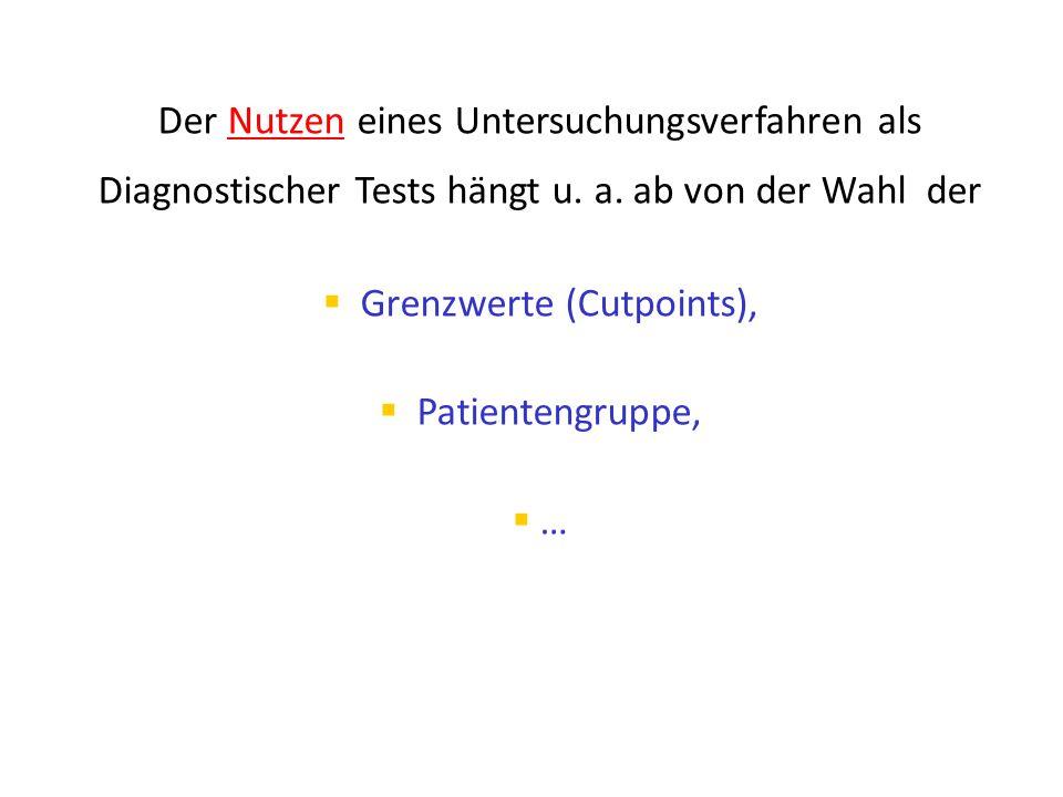Der Nutzen eines Untersuchungsverfahren als Diagnostischer Tests hängt u. a. ab von der Wahl der  Grenzwerte (Cutpoints),  Patientengruppe,  …