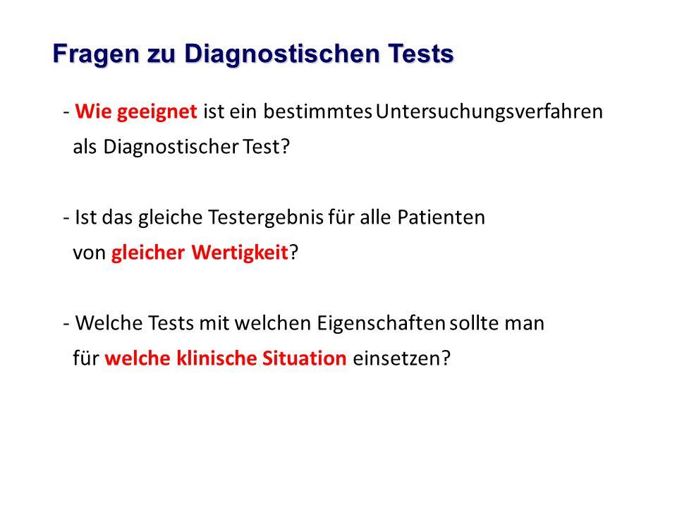 - Wie geeignet ist ein bestimmtes Untersuchungsverfahren als Diagnostischer Test? - Ist das gleiche Testergebnis für alle Patienten von gleicher Werti
