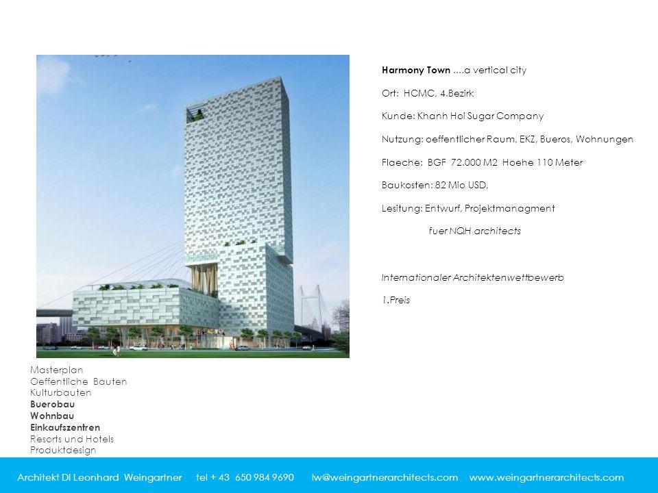 Architekt DI Leonhard Weingartner tel + 43 650 984 9690 lw@weingartnerarchitects.com www.weingartnerarchitects.com Harmony Town....a vertical city Ort