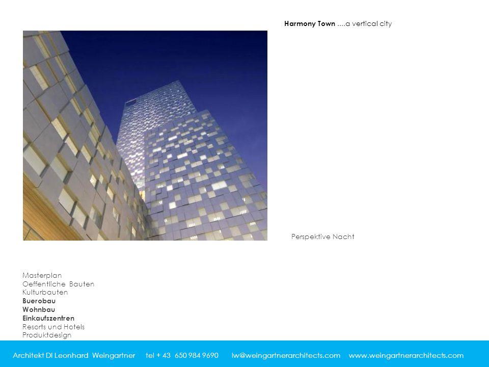 Architekt DI Leonhard Weingartner tel + 43 650 984 9690 lw@weingartnerarchitects.com www.weingartnerarchitects.com Perspektive Nacht Harmony Town....a