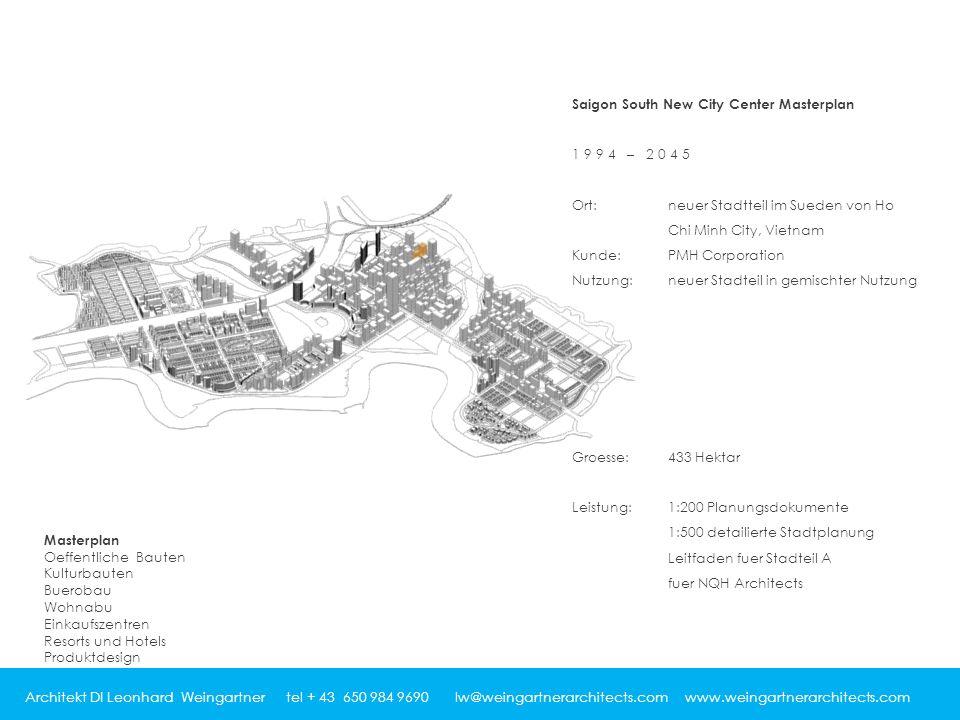 Architekt DI Leonhard Weingartner tel + 43 650 984 9690 lw@weingartnerarchitects.com www.weingartnerarchitects.com Saigon South New City Center Master