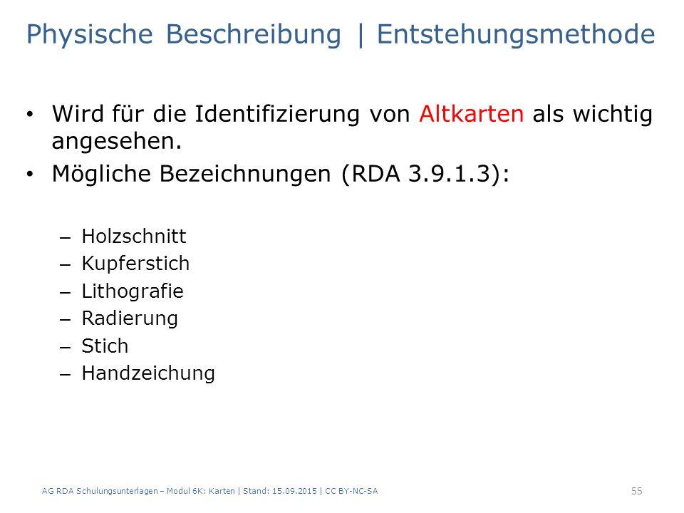 AG RDA Schulungsunterlagen – Modul 6K: Karten | Stand: 15.09.2015 | CC BY-NC-SA 55 Physische Beschreibung | Entstehungsmethode Wird für die Identifizierung von Altkarten als wichtig angesehen.