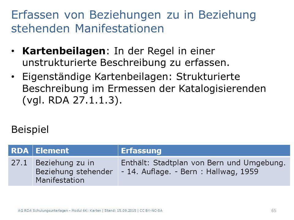 AG RDA Schulungsunterlagen – Modul 6K: Karten | Stand: 15.09.2015 | CC BY-NC-SA 65 Kartenbeilagen: In der Regel in einer unstrukturierte Beschreibung zu erfassen.