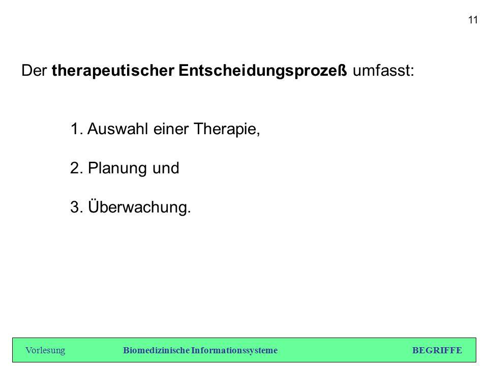 Der therapeutischer Entscheidungsprozeß umfasst: 1. Auswahl einer Therapie, 2. Planung und 3. Überwachung. VorlesungBiomedizinische Informationssystem