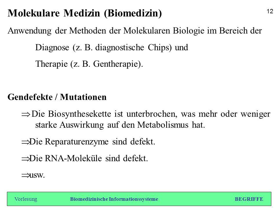 Molekulare Medizin (Biomedizin) Anwendung der Methoden der Molekularen Biologie im Bereich der Diagnose (z. B. diagnostische Chips) und Therapie (z. B