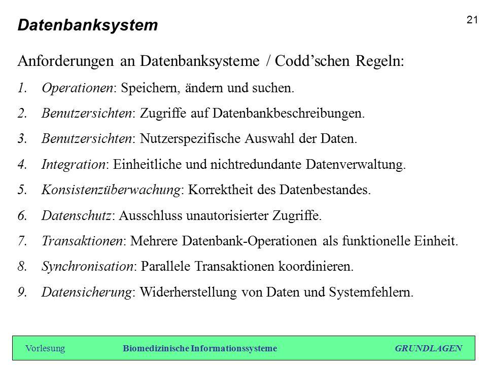Datenbanksystem Anforderungen an Datenbanksysteme / Codd'schen Regeln: 1.Operationen: Speichern, ändern und suchen. 2.Benutzersichten: Zugriffe auf Da
