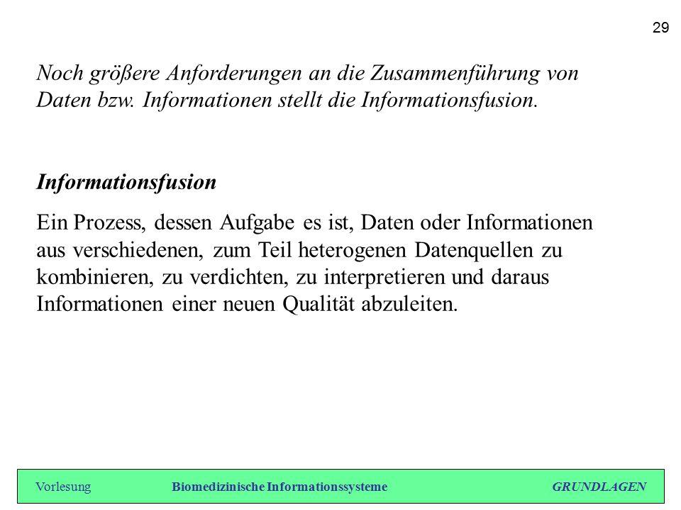 Noch größere Anforderungen an die Zusammenführung von Daten bzw. Informationen stellt die Informationsfusion. Informationsfusion Ein Prozess, dessen A